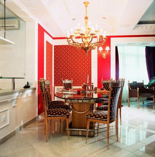 tapeten-farben-ideen-elegantes-esszimmer-mit-roter-wand