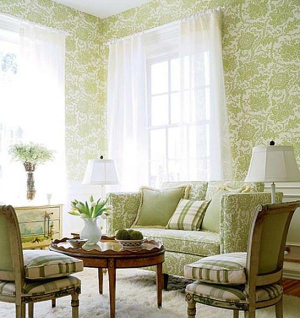 grünes wohnzimmer ideen:tapeten-farben-ideen-elegantes-grünes-wohnzimmer-mit-einem-retro-look