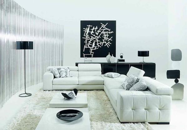 tapeten-farben-ideen-elegantes-weißes-wohnzimmer-mit-einem-schwarzen-bild