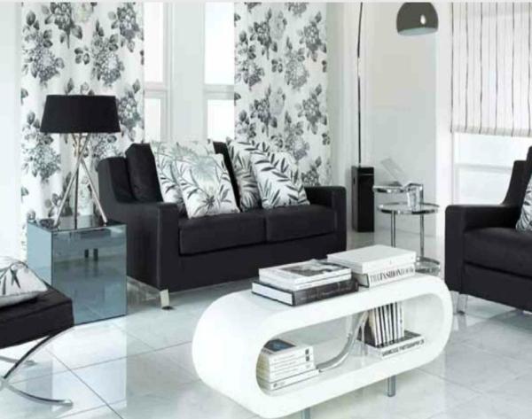 tapeten-farben-ideen-elegantes-wohnzimmer-in-weiß-und-schwarz