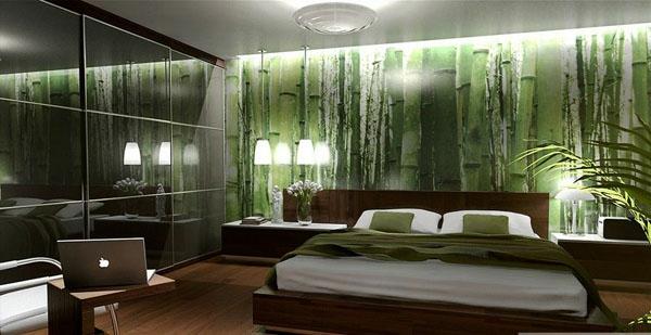 tapeten-farben-ideen-extravagante-grüne-wand