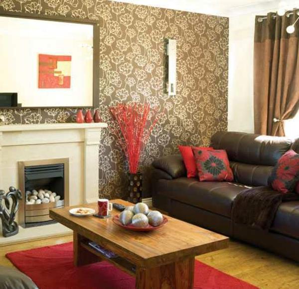 tapeten-farben-ideen-gemütliches-wohnzimmer-mit-braunen-wänden
