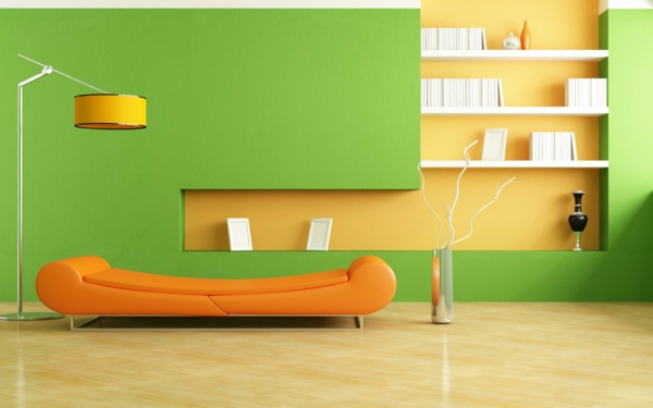 tapeten-farben-ideen-grüne-wände-und-orange-sofa