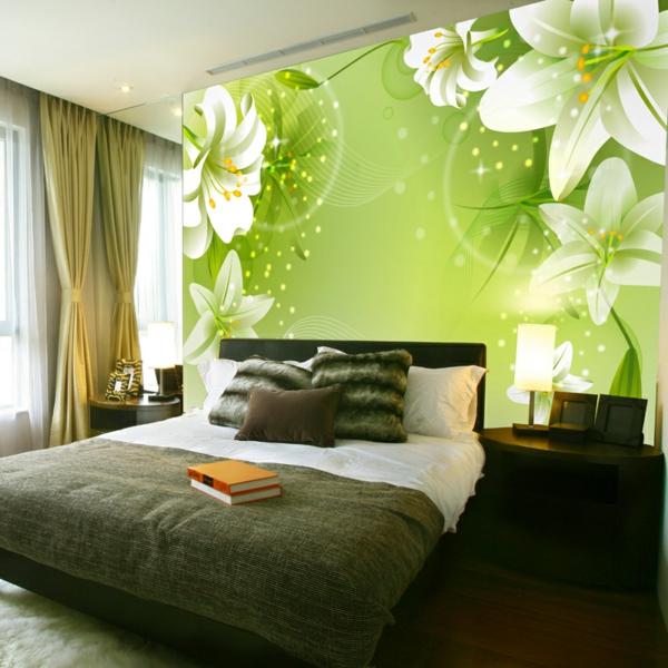 wohnzimmer wände tapeten:super schöne grüne wand mit blumen im schlafzimmer