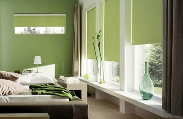tapeten-farben-ideen-grünes-schlafzimmer-sehr-schön