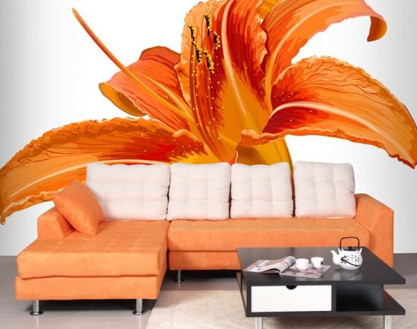 tapeten-farben-ideen-große-orange-blume-wandgestaltung