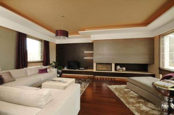 Tapeten farben ideen großes wohnzimmer in braun und weiß
