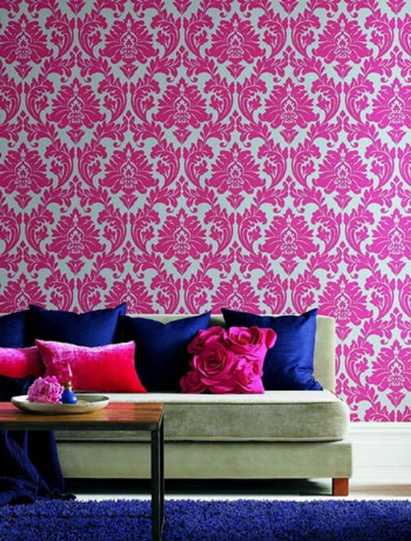 tapeten-farben-ideen-interessante-rosige-wand
