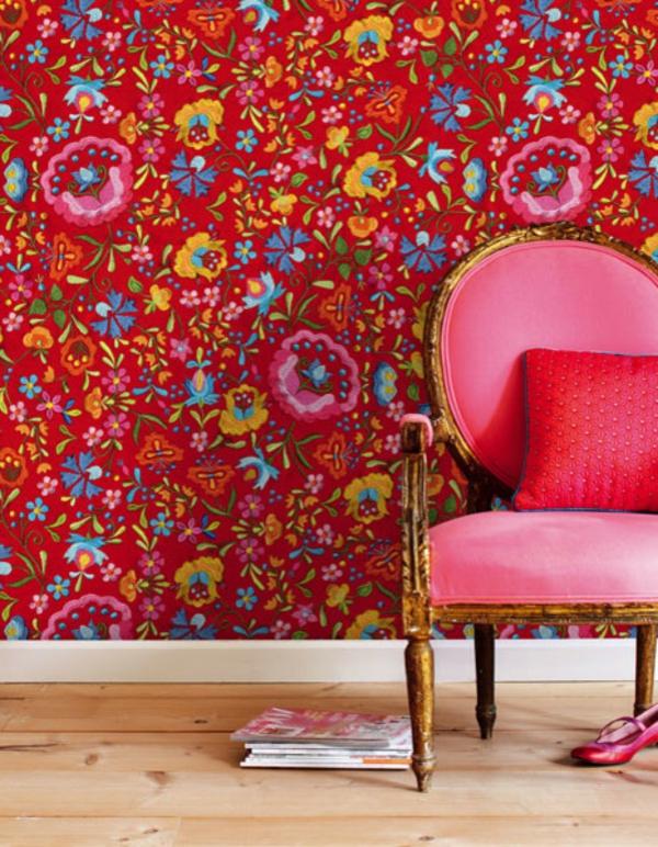 tapeten-farben-ideen-interessante-rote-farbschemen
