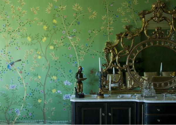 tapeten-farben-ideen-interessante-wand-in-grün