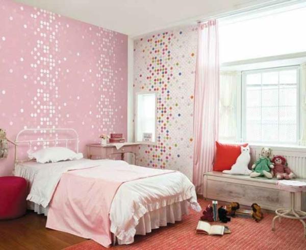 tapeten-farben-ideen-interessantes-zimmer-in-pink-und-weiß