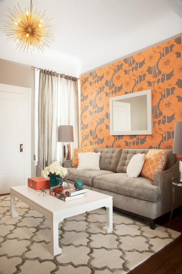 tapeten-farben-ideen-kleines-schönes-wohnzimmer-in-orange-und-weiß