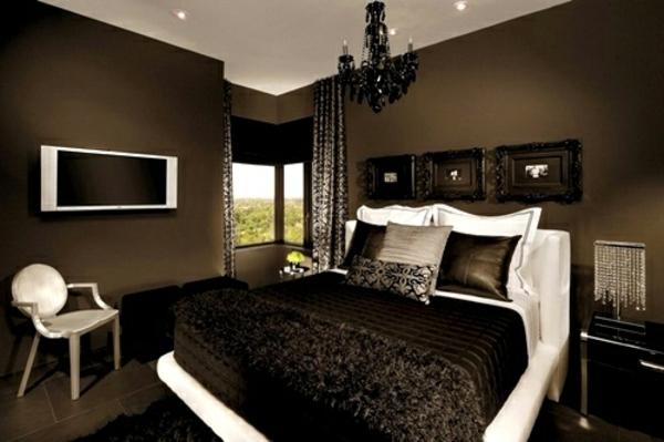 Wohnzimmer wohnzimmer einrichten braun grün : tapeten-farben-ideen-kleines-schlafzimmer-mit-braunen-wänden