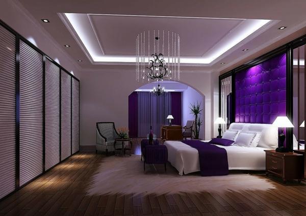 tapeten-farben-ideen-moderne-beleuchtung-im--lila-schlafzimmer