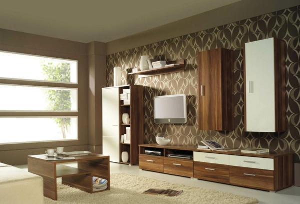 tapeten-farben-ideen-moderne-möbel-und-braune-farbe