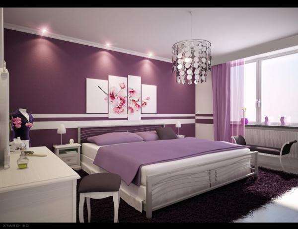 tapeten-farben-ideen-modernes-schlafzimmer-in-weiß-und-lila
