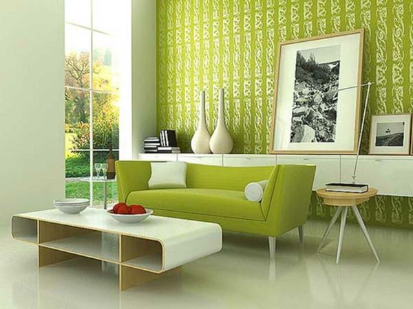 tapeten-farben-ideen-modernes-wohnzimmer-in-grüner-farbe