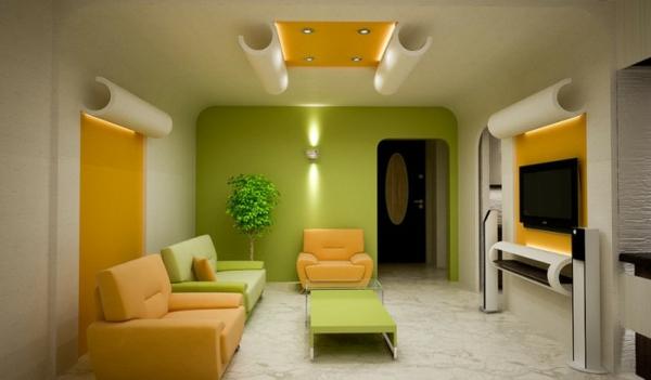 coole wohnzimmer farben:tapeten-farben-ideen-modernes-wohnzimmer-in-orange-und-grün