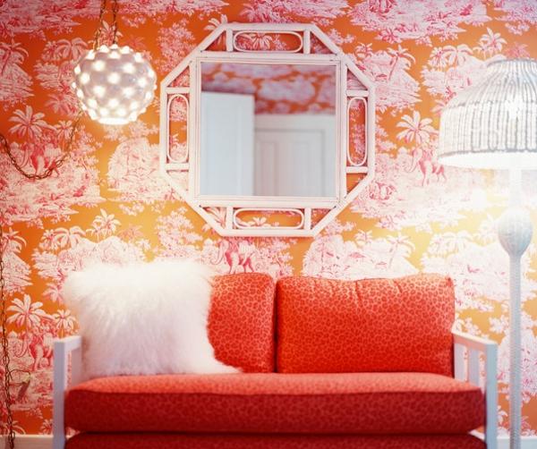 tapeten-farben-ideen-orange-sofa-und-tapete