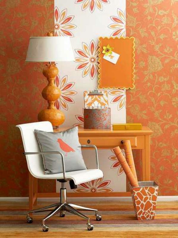 tapeten-farben-ideen-orange-und-weiß