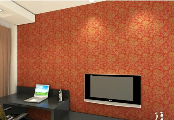 tapeten-farben-ideen-orange-wand-im-gemütlichen-wohnzimmer