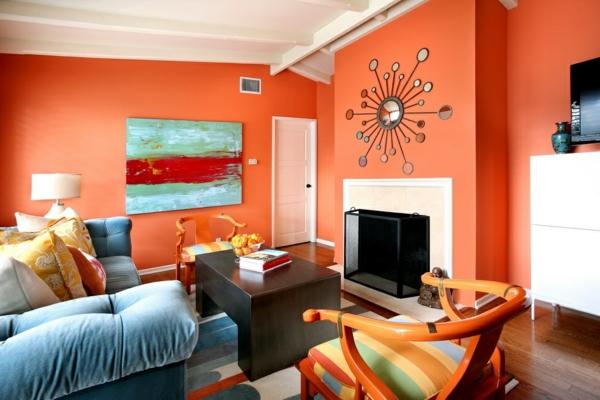 tapeten-farben-ideen-orange-wand-im-wohnzimmer