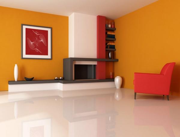 tapeten-farben-ideen-orange-wohnzimmer-mit-einem-roten-sessel