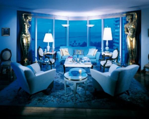 Wohnzimmer Tapeten Gestaltung : schickes wohnzimmer in blau – gl?serne w?nde