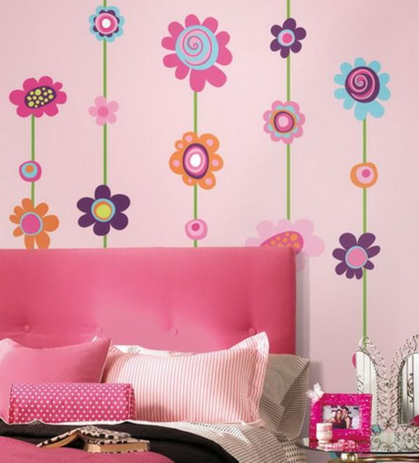 Schlafzimmer Tapeten Farben : tapeten-farben-ideen-rosige-ausstattung