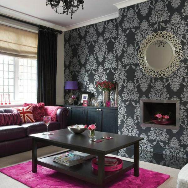 tapeten-farben-ideen-rosiger-teppich-und-schwarze-wände