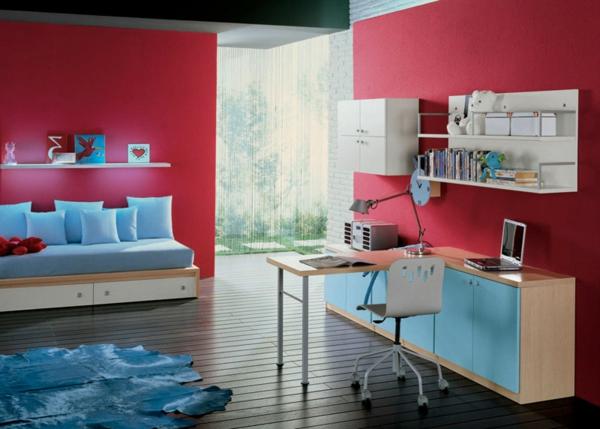 tapeten-farben-ideen-rotes-jugendzimmer