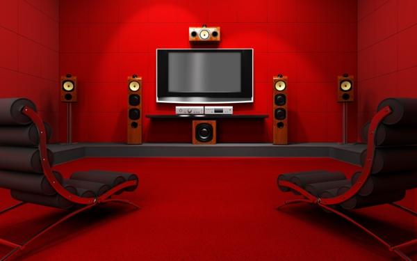 Rote Tapete Mit Ornamenten : tapeten-farben-ideen-rotes-zimmer-sehr-schick