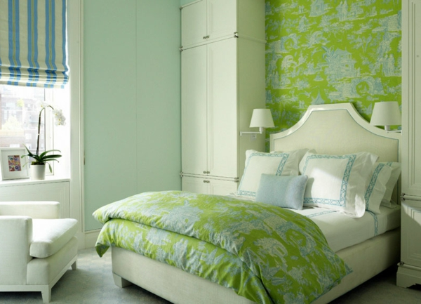 tapeten-farben-ideen-süßes-grünes-schlafzimmer