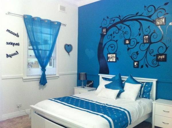 Schlafzimmer ideen farbgestaltung blau  150 coole Tapeten Farben Ideen: Teil 1 - Archzine.net