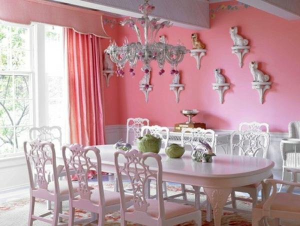 tapeten-farben-ideen-schönes-esszimmer-in-pink-und-weiß