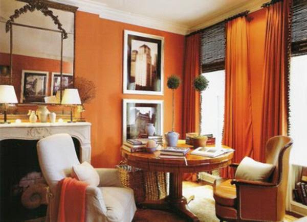 tapeten-farben-ideen-schönes-orange-wohnzimmer