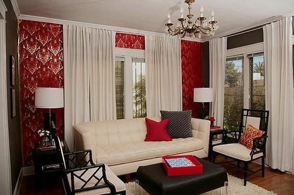 tapeten-farben-ideen-schönes-wohnzimmer-mit-roten-elementen