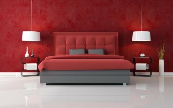 Schlafzimmer Tapeten Farben : tapeten-farben-ideen-schickes-rotes-schlafzimmer