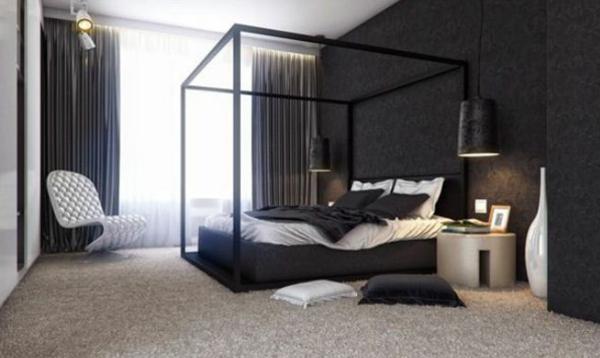 tapeten-farben-ideen-schickes-schlafzimmer-in-schwarz