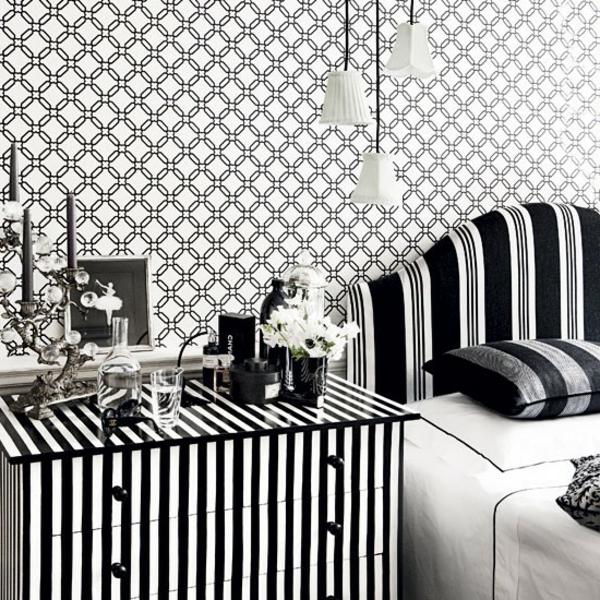 tapeten-farben-ideen-schlafzimmer-in-weiß-und-schwarz