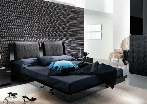 Schlafzimmer Tapeten Farben : ultramodernes schlafzimmer mit einer schwarzen akzentwand