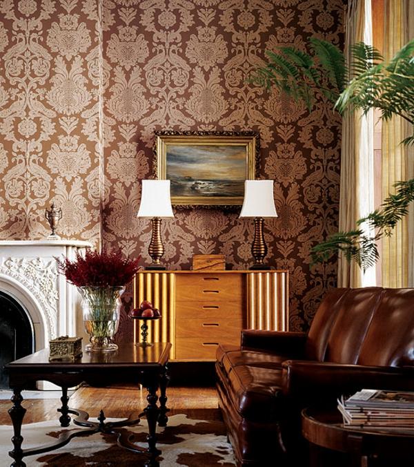 Wohnzimmer Farben Und Tapeten : tapeten-farben-ideen-sehr-elegante-zimmer-gestaltung-braune-nuancen