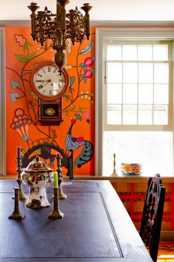 tapeten-farben-ideen-super-esszimmer-mit-orangen-wänden