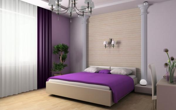 tapeten-farben-ideen-super-schlafzimmer-mit-lila-bett
