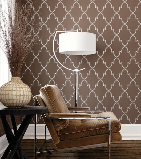 Wohnzimmer Farben Und Tapeten : tapeten-farben-ideen-taupe-farbe-der-wand