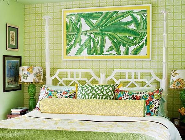 tapeten-farben-ideen-tropicale-grüne-gestaltung