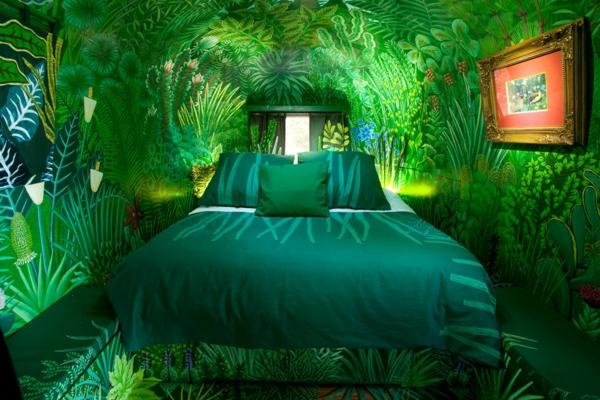 tapeten-farben-ideen-ultragrünes-schlafzimmer-modell