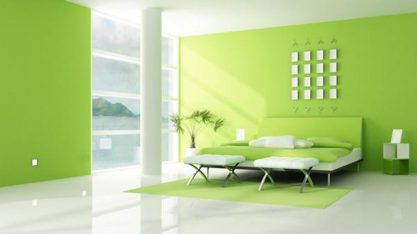 tapeten-farben-ideen-ultramodernes-grünes-wohnzimmer