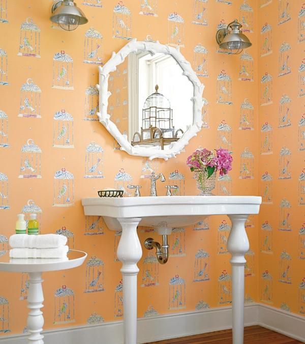 tapeten-farben-ideen-vintage-spiegel-und-orange-tapete