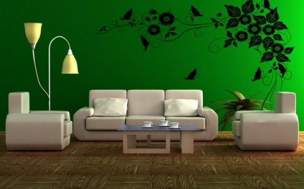 tapeten-farben-ideen-weiße-möbel-und-wände-in-grün
